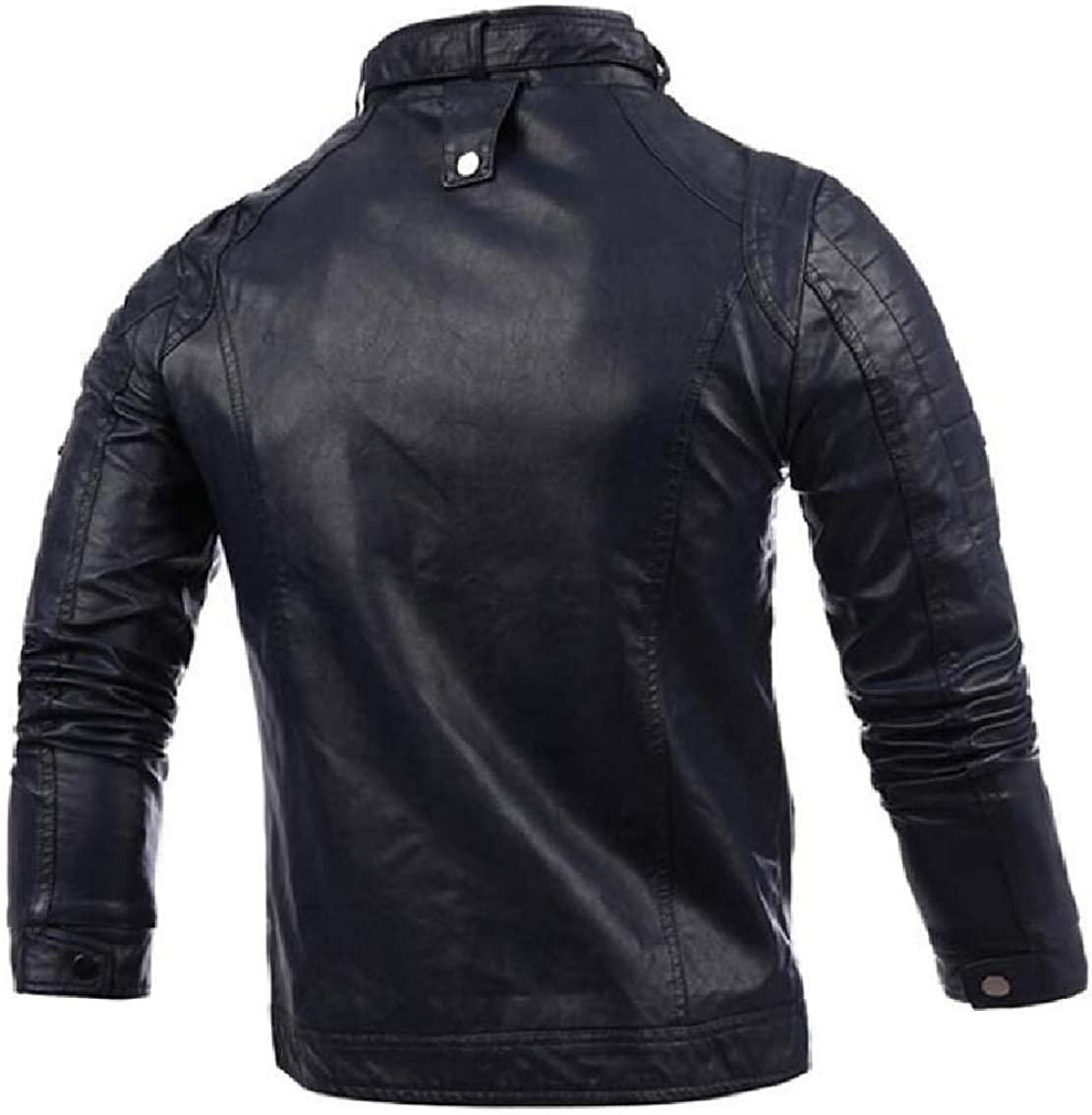 Mens Stand Collar Zipper Faux-Leather PU Solid Long Sleeve Jackets