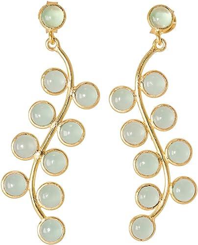 Earrings Screw Back Peru Chalcedony 18k Gold Plated 925 Sterling Silver Stud