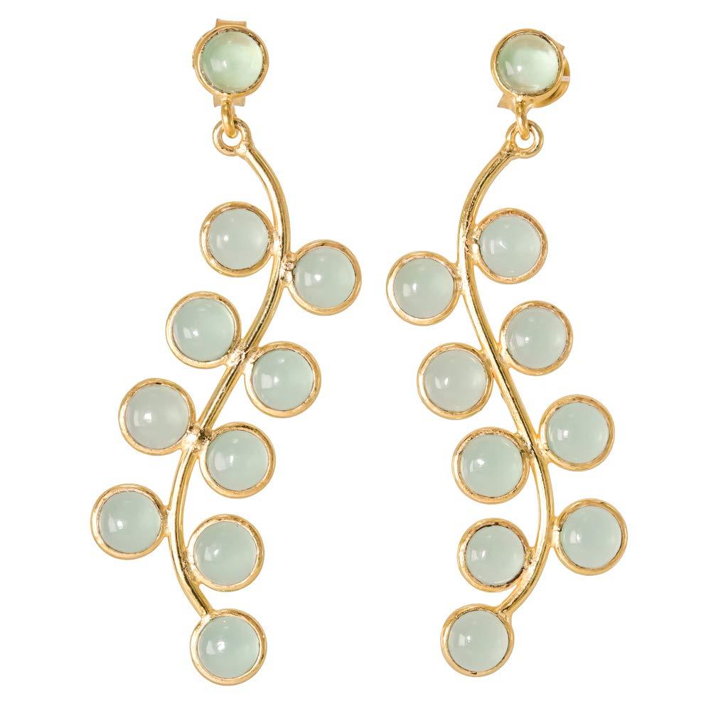 Earrings Peru Chalcedony 18k Gold Plated 925 Sterling Silver Stud Screw Back