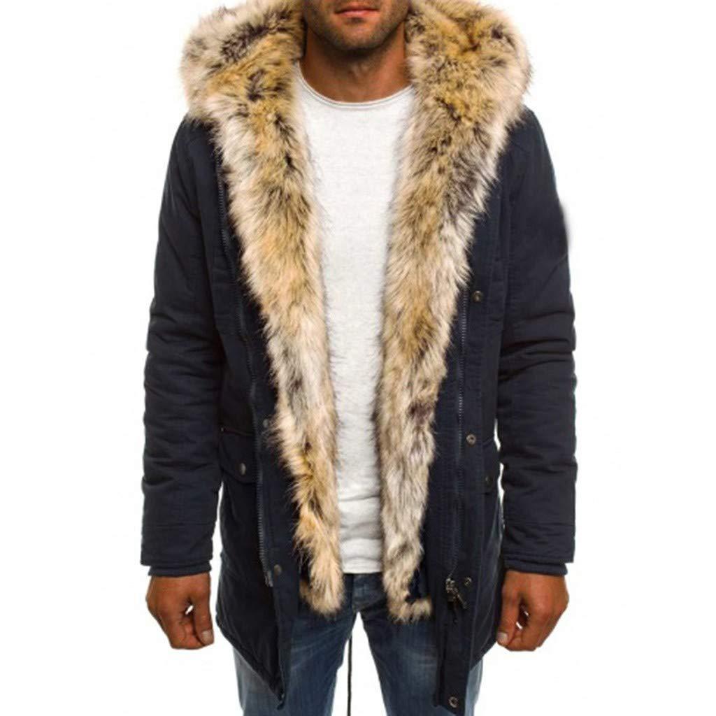 Men's Winter Thicken Cotton Mid-Long Jackets Warm Faux Fur Hooded Fashionable Windproof Military Down Coat Outwear Dark Blue by SSYUNO-men tops