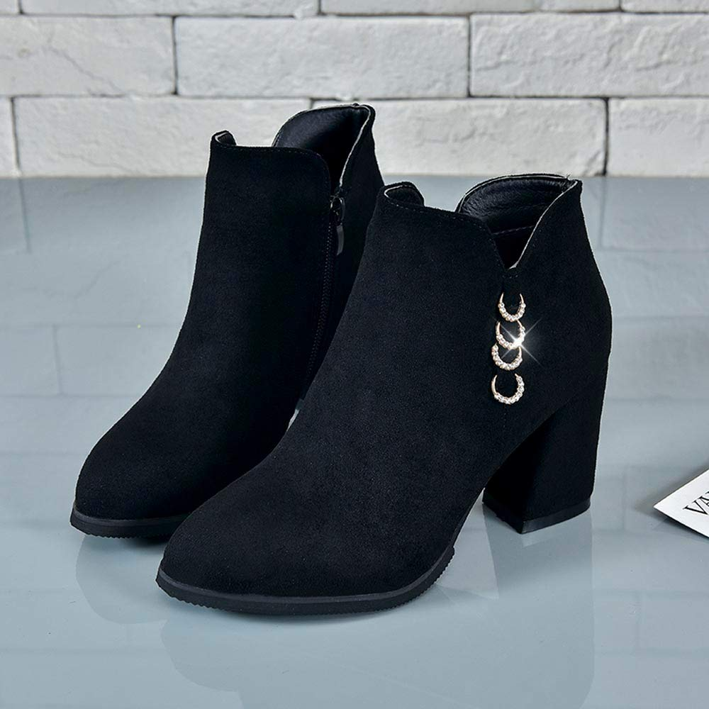Amazon.com: Women Suede Ankle Boots,Lady High-Heeled Boots Single Shoes: Clothing