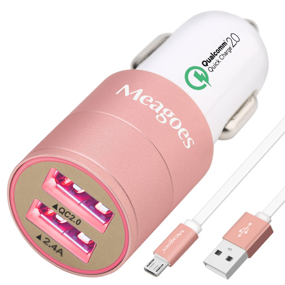 meagoes高速Micro USB車充電器アダプタ CC003-021RY1MRPFS B07BB74SFD  Rose Gold with Pink LED + 1 Pack 3.3ft Micro USB Cable