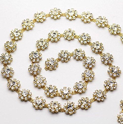 - Sinchi Kuzo 1 Yard Flower Crystal Clear Round Glass Rhinestone Cup Chain Golden Base Dress Belt Trim Applique Sew on Stone Garment