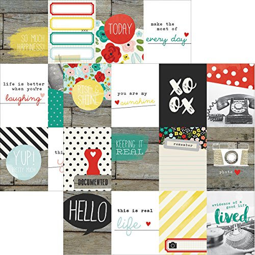 "Simple Stories 5010 25 Sheet Life in Color Double-Sided Elements Cardstock Journaling Cards, 12"" by 12""-3"" by 4"", Multicolor"