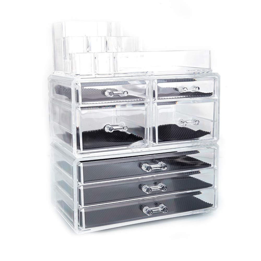 KTKAP Makeup Organizers Cosmetic Jewelry Storage Case for Dresser, Vanity, Countertop Clear w 7 Drawers, 3 in 1