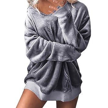 19f18592e7 Hoodies Damen Kolylong Frauen Elegant Trägerlos SAMT Sweatshirt mit Kapuze  Herbst Winter Warm Langarm Pullover Oversize
