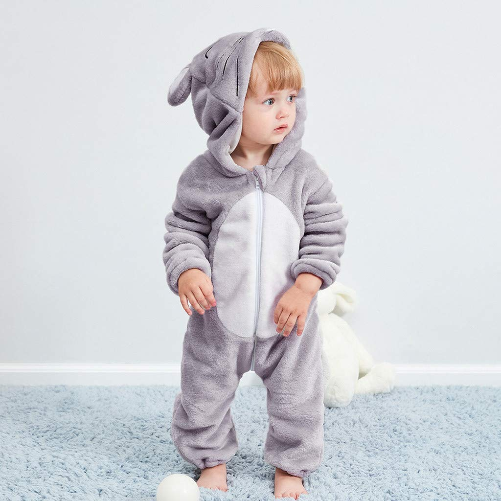Adagod Little Mice Newborn Baby Girl Boy Cartoon Animal Hooded Flannel Romper Jumpsuit Warm Clothes