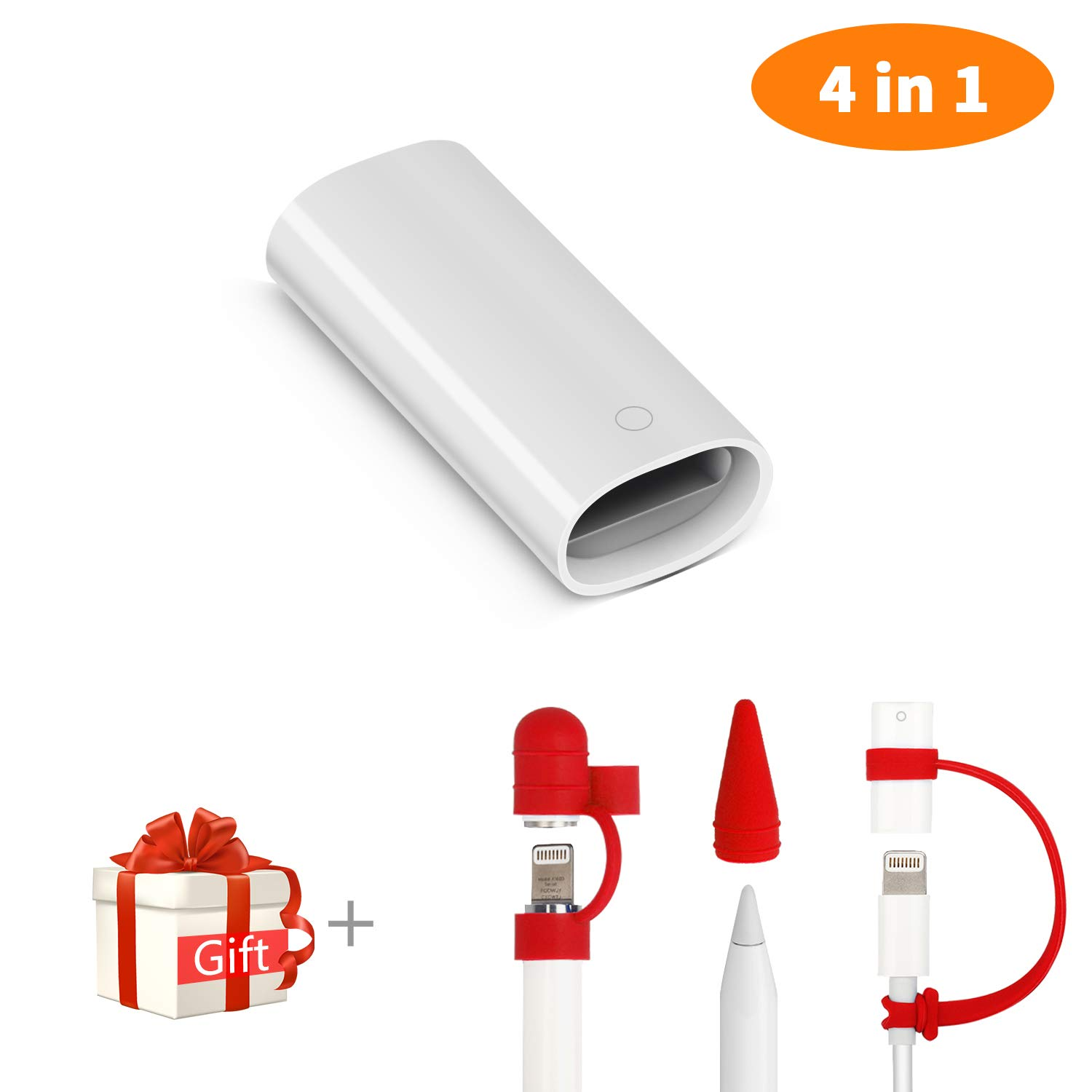 Cuauco Adapter Compatible With Apple Pencil and iPad Pro Cable Charging Adapter Connector + [3-Piece] Apple Pencil Cap Holder / Nib Cover / Cable Adapter Tether Compatible With iPad Pro / iPad 2018 Pencil ( 4 in 1, White)