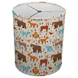Hardback Linen Drum Cylinder Lamp Shade 8'' x 8'' x11'' Spider Construction [ Forest Animals ]
