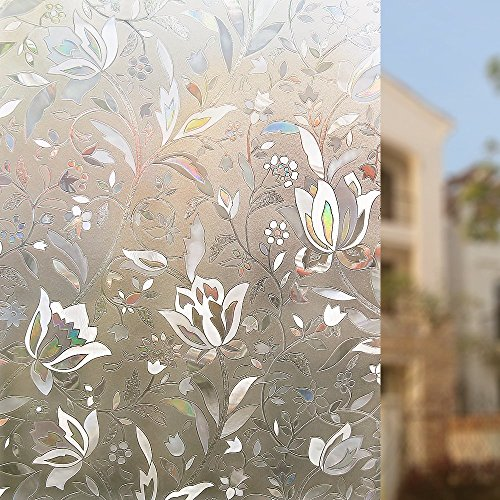 RABBITGOO 3D Window Films Privacy Film Static Decorative Film Non-Adhesive Heat Control Anti UV 17.5'' x 78.7'' (44.5 x 200Cm) by RABBITGOO (Image #2)