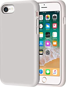 "iPhone 8 Case, Anuck Non-Slip Liquid Silicone Gel Rubber Bumper Case with Soft Microfiber Lining Cushion Hard Shell Shockproof Full-Body Protective Case Cover for Apple iPhone 7/8 4.7"" - Stone"