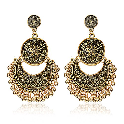 Gmai Gmai Classic Ethnic Brocade Engraved Lotus Brocade Lotus Mexico Gypsy Hook Dangle Earrings For Women Girls (Flower Dangling Necklace Earrings)
