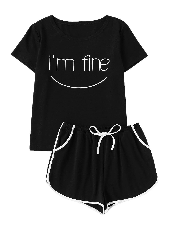 Black_3 DIDK Women's Cute Cartoon Print Tee and Shorts Pajama Set