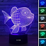 LLUUKK Visual 3D Night Light Lamp Clownfish Fish Sea Animal Toys Desk Lamp Table Decoration Household Accessories Kids Gift Boys Festival for Animal Lovers