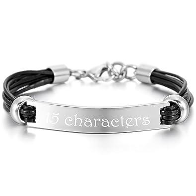 MeMeDIY Stainless Steel Bracelet Cuff Heart Adjustable - Customized Engraving DAyZJv9