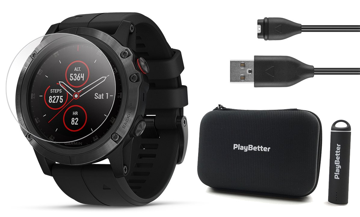 Garmin Fenix 5X Plus+ Sapphire Bundle with Screen Protectors, PlayBetter Portable Charger & Protective Case | Multisport GPS Watch, TOPO Maps, ClimbPro, Garmin Pay, Music + Spotify (Black/Black Band)