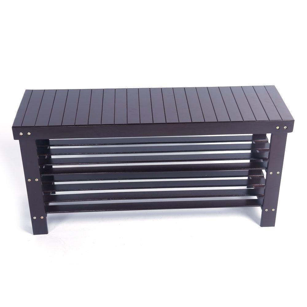 36'' Solid Wood Shoe Bench Storage Racks Seat Organizer Entryway Hallway Espresso