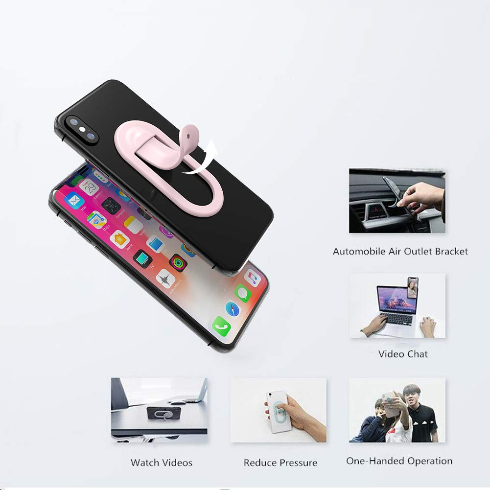 Universal Mobile Phone Bracket Grip Holder Silicone Holder Finger Kickstand Grip Car Mount BESTEASY Cell Phone Holder Anti-Slip Silicone Compatible with All Smartphone Tablet Phone 【Pink】