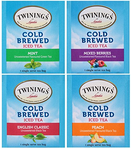 Twinings Cold Brewed Iced Tea Bag Sampler 40 Ct Includes: Mint, Mixed Berries, English Classic, and Peach - with By The Cup Sugar Packets