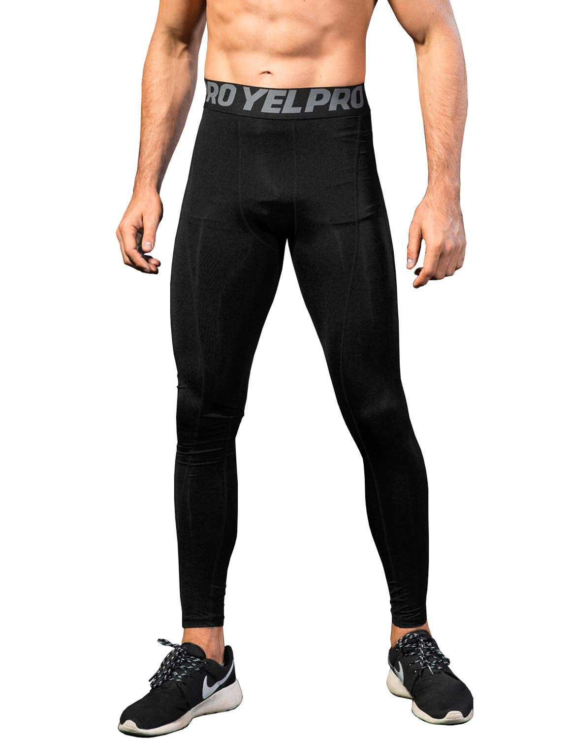 Lavento Men's Compression Pants Baselayer Cool Dry Running Ankle Leggings Active Tights (1 Pack-1060 Black,2X-Large)