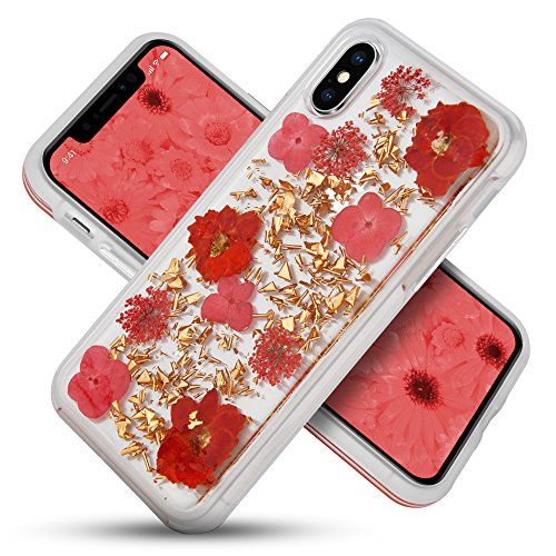 CellJoy Case Compatible with Apple iPhone X/iPhone 10 - [Floral Hybrid] Premium REAL inlaid Flowers Chrome TPU Protective Bumper Hard Shell Thin Grip Cover (Red Flowers/Rose Gold Flakes)