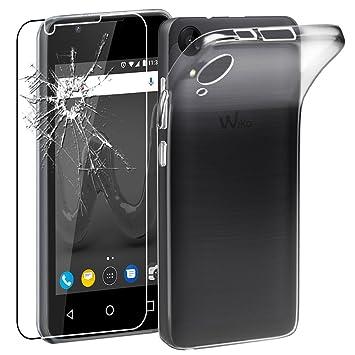 ebestStar - Funda Wiko Sunny 2 Carcasa Silicona, Protección Crystal Clear TPU Gel, Ultra Slim Case, Transparente + Cristal Templado Protector Pantalla ...