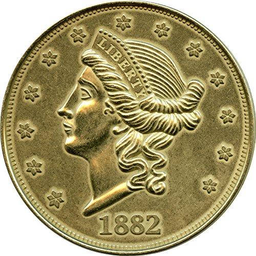 (REPLICA 1882 Liberty Head $20 Gold Piece. Big Huge Large 3