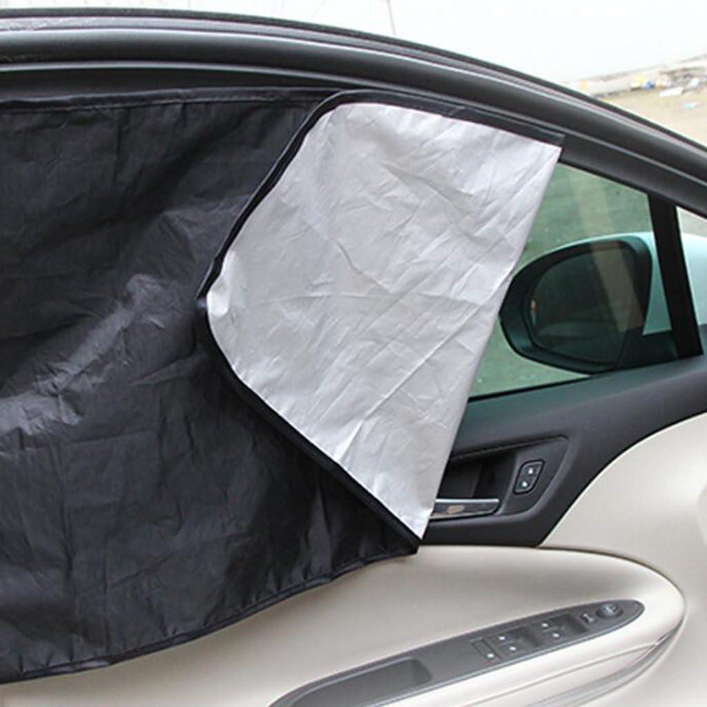 Sharplace 1 Paio Tende Scudo Parasole Magnetici Con Doppi Lati Per Finestra Obliqua Auto Veicoli In Vinile Foglia Argento