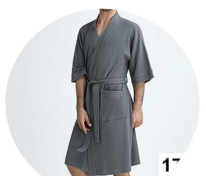 Women 100% Cotton Suck Sweat Towel Bath Robe Sexy Femme Waffle Kimono  Bathrobe b5eea84fd