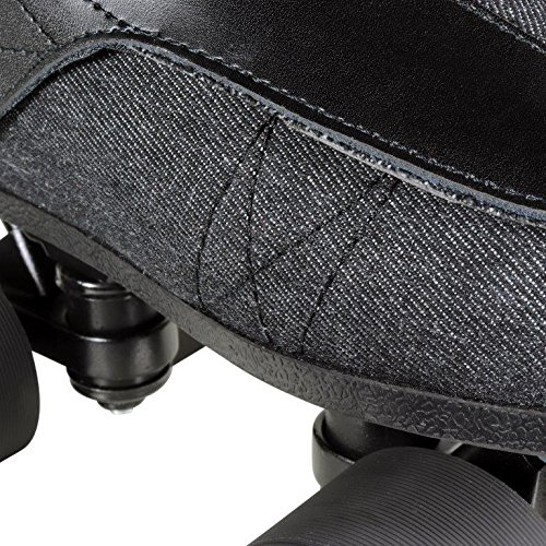 VNLA Stealth Jam Skates | Quad Roller Skates from Vanilla – Indoor Speed Skates – Denim and Leather – For Tricks and Rhythm Skating (Matte Black) by VNLA