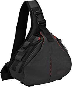 CADeN Camera Bag Sling Backpack Camera Case Waterproof with Rain Cover Tripod Holder, Compatible for DSLR/SLR Mirrorless Cameras (Canon Nikon Sony Pentax) and Accessories Black