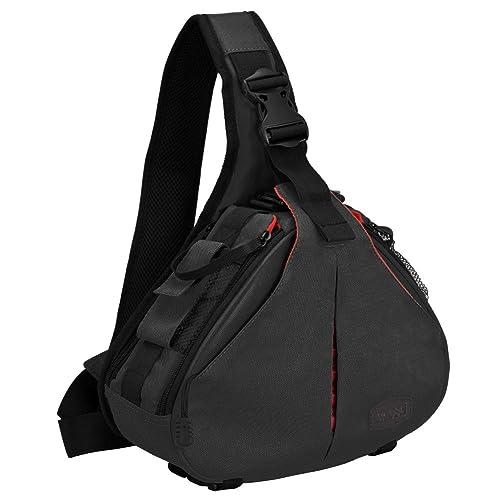 CADeN DSLR Camera Bag Waterproof Anti Theft Shoulder Messenger Backpack Camera Case Sling Crossbody Daypack Fits One Camera 3 Lens Tripod for Canon Nikon Sony Triangle Bag Upgraded