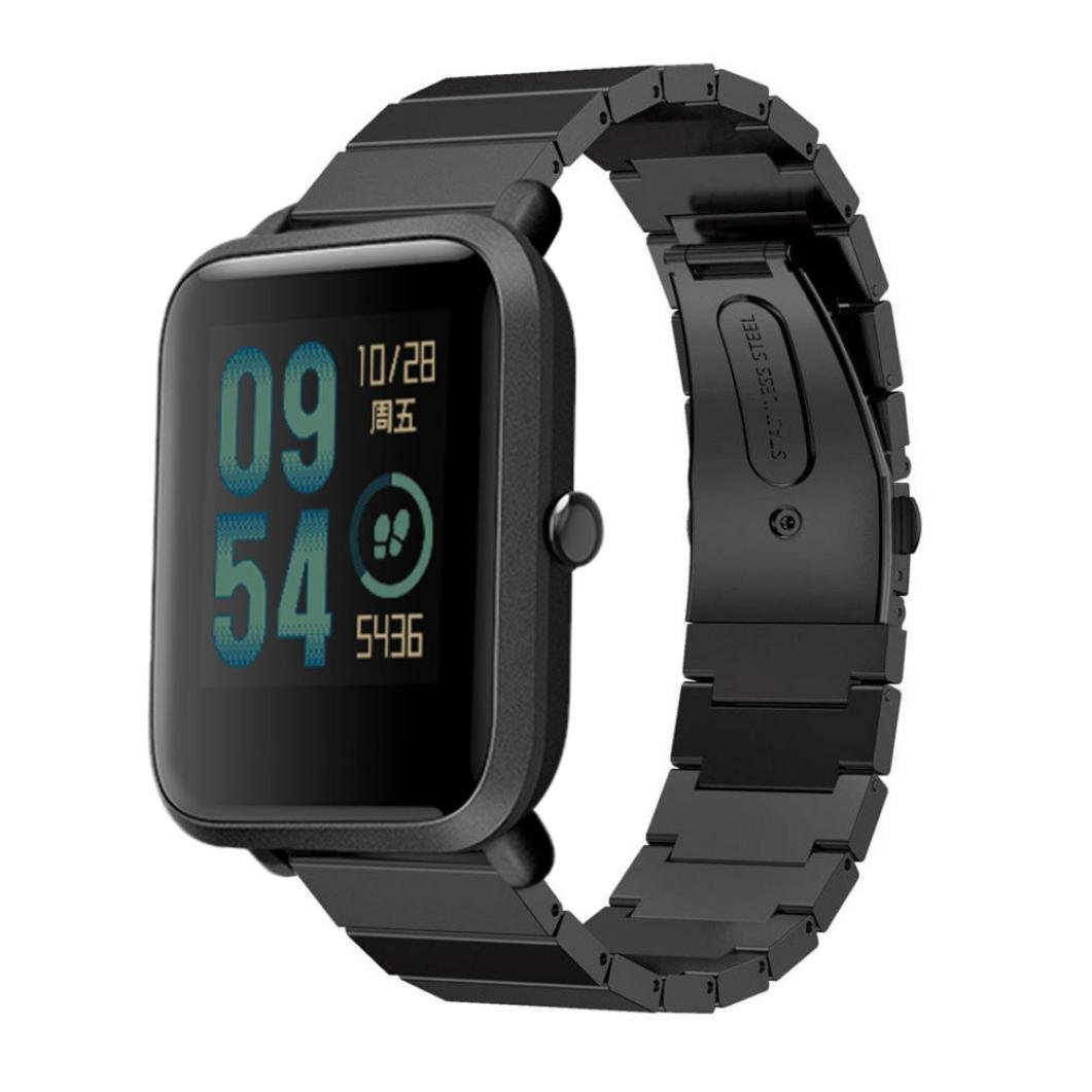 For Xiaomi Amazfit Bip Youth Watch,Sunfei Genuine Stainless Steel Bracelet Watch Band Strap (Black)