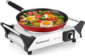 """Techwood Hot Plate Electric Stove 1200W Countertop Infrared Ceramic Single Burner with Adjustable Temperature & Stay Cool Handles, 7.5"""" Cooktop for Dorm/Home/Camp, Compatible for All Cookwares"""