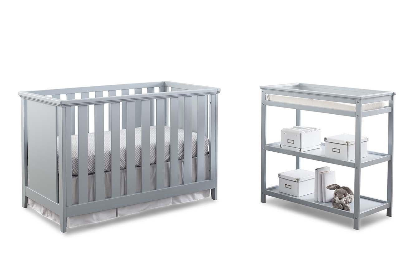 Imagio Baby Casey 3-in-1 Cottage Crib and Changer Set, Grey