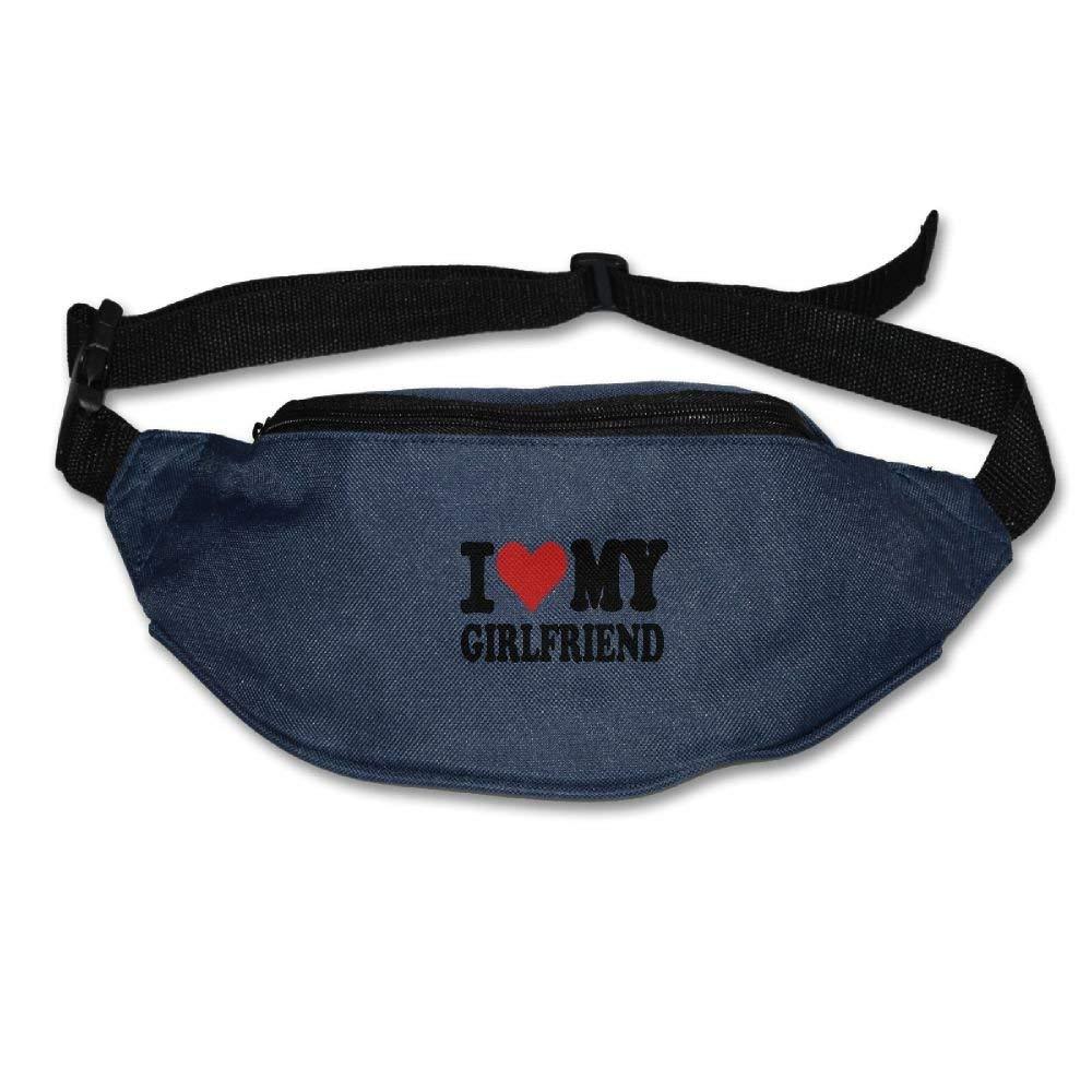 Waist Purse I Love My Girlfriend Funny Logo Unisex Outdoor Sports Pouch Fitness Runners Waist Bags