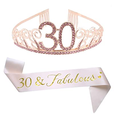 30th Birthday Pink Tiara and Sash Glitter Satin Sash and Crystal Rhinestone Tiara Crown for Happy 30th Birthday Party Supplies Favors Decorations 30th Birthday Party Accessories: Toys & Games