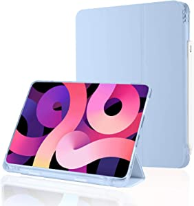 iPad Air 4th Generation Case iPad Air 2020 Case , iPad Air 4 10.9 Inch Case with Pencil Holder, Support 2nd Gen Apple Pencil Charging Auto Sleep/Wake Smart Cover Case for iPad Air 4 10.9 (Sky Blue)