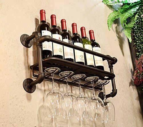 Rustic Metal Wall Mounted Wine Rack Pipe Wine Rack Goblet Holder