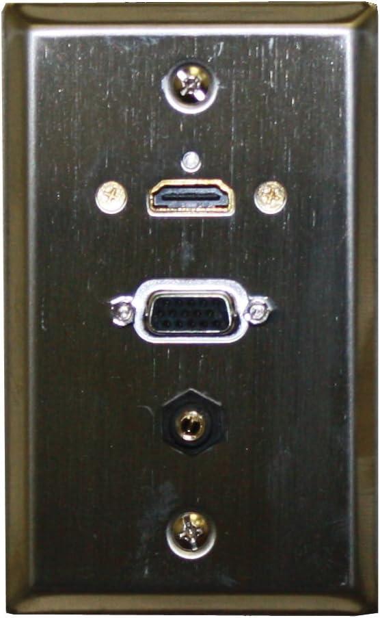 Placa de pared de acero inoxidable w/HDMI, VGA, 3,5 mm: 75 – 642: Amazon.es: Electrónica