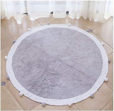 Soft Teppich Kinderzimmer Wohnzimmer Schlafzimmer Babyteppich mit Bommel in Rosa,Blau,Grau /Ø 120CM,Hochflor COIN Kinderteppich Rund Spielteppich aus Baumwolle