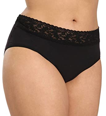 f6d858ac688 Hanky Panky Women s Plus Size Organic Cotton Signature Lace French Brief at  Amazon Women s Clothing store
