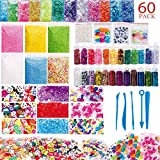 60 Pack Slime Supplies Kit Slime Beads Charms Include Colorful Foam Beads Fishbowl Beads Glitter Jars Fruit Flower Animal Slices Sugar Paper Rainbow Pearls Slime Tools for Slime Making Art DIY Craft