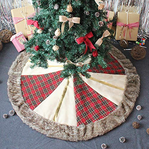 ShiyiUP Christmas Tree Skirt with Scottish Pattern Plaid for Merry Christmas Party Decoration