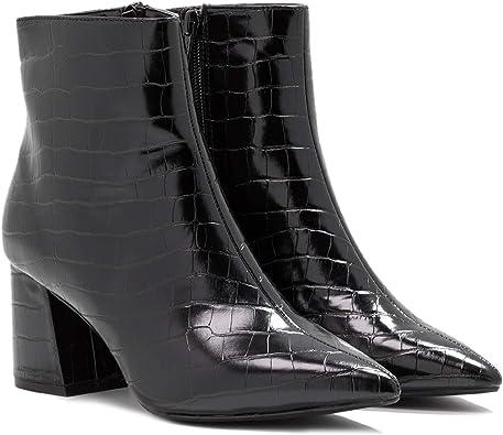 black patent ankle boots block heel