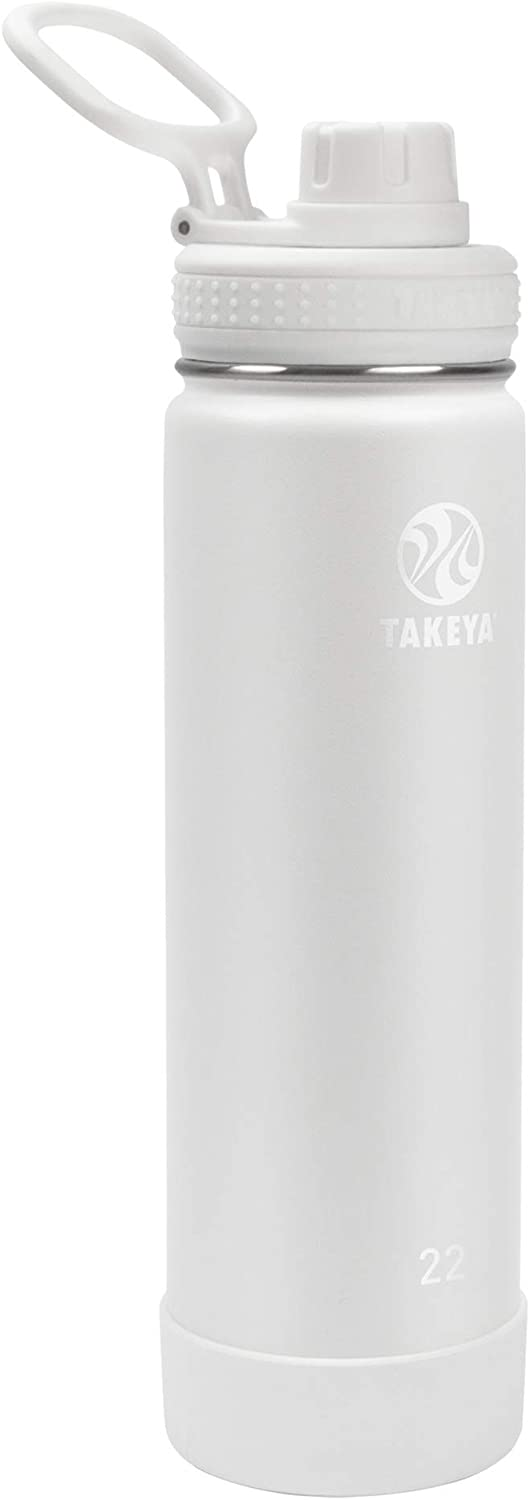 Takeya Actives Insulated Water Bottle w/Spout Lid, Arctic, 22 Ounce