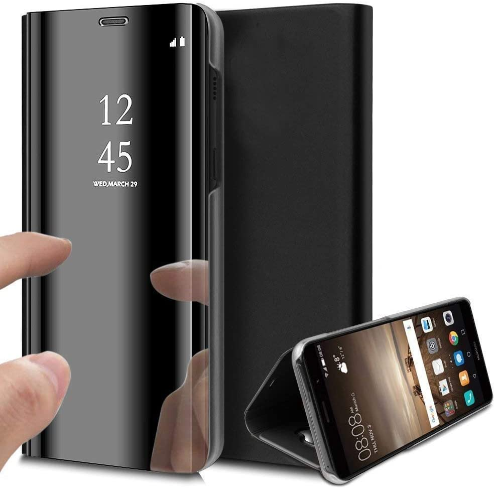 Uposao Compatible with Huawei P30 Mirror Flip Case Bling Mirror Clear View Hard Flip Cover Electroplating Technology PC PU Leather Book Case with Stand Function,Black
