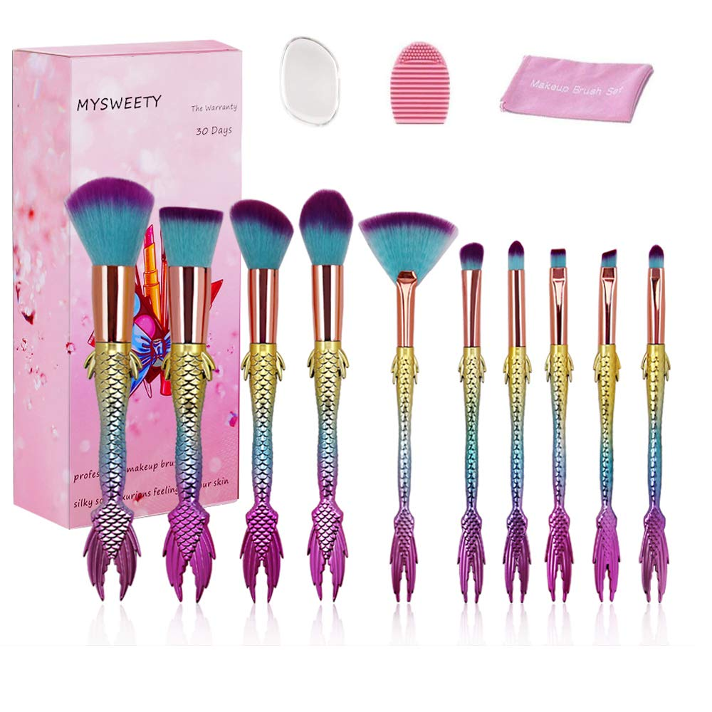 Mermaid Makeup Brush Set, MYSWEETY 10pcs Rainbow Unique Mermaid Makeup Brushes Set, Unicorn Fish Style Foundation Powder Cream Blush Brush Tool with 1pcs Silicone Makeup Sponge + 1pc Makeup Wash Egg