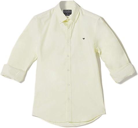 SILBON - Camisa Sport Essential Amarillo Lisa para Hombre: Amazon.es: Ropa y accesorios