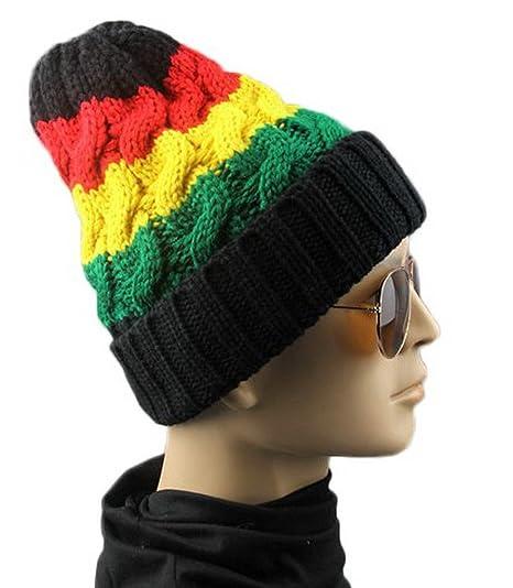 Bigood Rasta Jamaican Reggae Skull Cap Winter Warm Slouchy Knit ... 4e8d2340a19